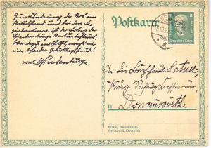 Germany - Postal Card Mi. P207 Used - Semi - Hindenburg 1927