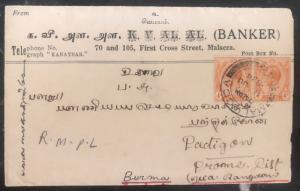 1934 Malacca Straits Settlements Banker cover To Padigon Bruma