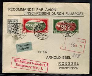 1930 Riga Latvia First Day Flight cover to Konigsberg Germany # CB1 CB2