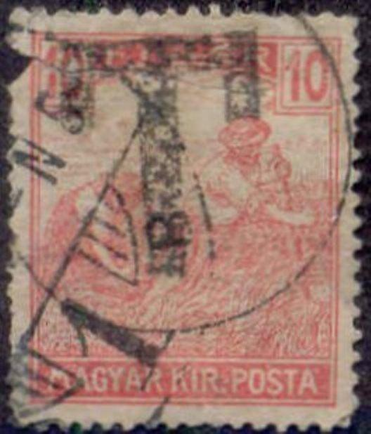 Hungary 1915-8 'T in Circle' Postage Due Overprint on 10f Harvesting Stamp