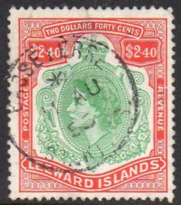 Leeward Islands 1954 $2.40 bluish green and red used