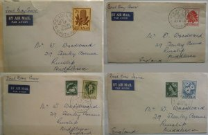 Australia 1959 Stamps Flowers 4 Plain Various Values FDCs Airmail to UK