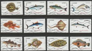 France, 2019, Used Set Of 12, Fish , From Kiloware