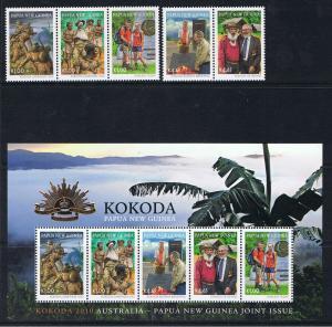PAPUA NEW GUINEA 2010 KOKODA MINI SHEET & STAMPS