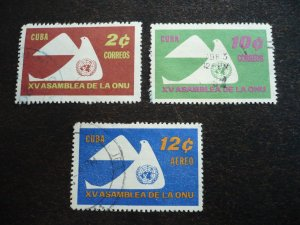 Stamps - Cuba - Scott# 668-669,C223 - Used Partial Set of 3 Stamps