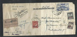 PAKISTAN (P0209B) 1951 OPSS REG  SERVICE 5R+8A+4A+2A TO HIGH COMMISIONER LONDON
