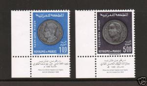 Morocco Sc C16-C17 MNH. 1969 Coins, complete set with corner selvage, fresh, VF+