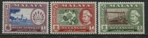 Malaya Selangor 1957-63 $1, and $2 and $5 perf 12 1/2 mint o.g.