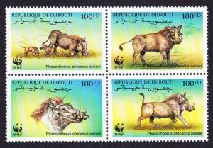 Djibouti WWF Eritrean Warthog 4v in block 2*2 SG#1192-1195 MI#678-681 SC#795 a-d