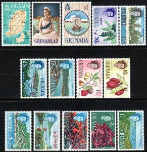 1966 Grenada QE Queen Elizabeth complete set of 15 MNH Sc# 215 / 229 CV $24.20