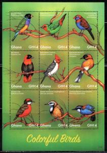 GHANA  2017  COLORFUL BIRDS  SHEET  MINT NH