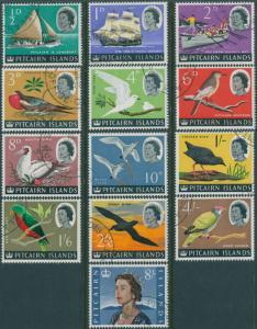 Pitcairn Islands 1964 SG36-48 Boats Birds QEII set FU