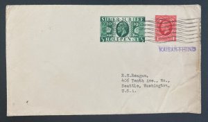 1935 London England Silver Jubilees Stamps Cover To Seattle WA Usa