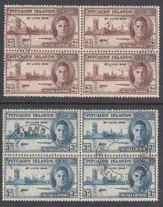 PITCAIRN 1946 Victory set fine used blocks of 4.............................K193