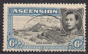 Ascension Island 1938 - 53 KGV1 6d Blue & Black used SG 43 ( C413 )