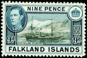 FALKLAND ISLANDS SG157, 9d black & grey-blue, VLH MINT. Cat £24.