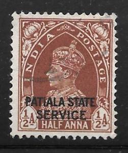 India Patiala O55: 1/2a George VI, used, F-VF