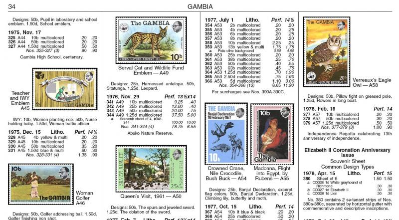 2008 GAMBIA Scott Catalog PAGES ONLY