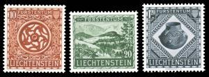 Liechtenstein 1953 NATIONAL MUSEUM SET MINT ENVER HINGED #274-276 beautiful s...