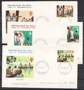 Mali, Scott cat. 145-147. Scout Activities issue. 3 First day cover. ^