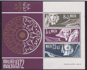 Malta # B12a, Christmas - Angels, Souvenir Sheet., Mint NH, 1/2 Cat..