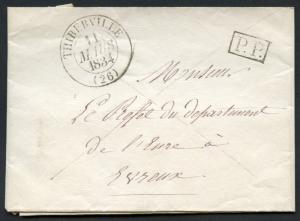 FRANCE STAMPLESS COVER  THIBERVILLE 11 MARCH 1834 POSTPAID PP TO  PREFECT EVREUX
