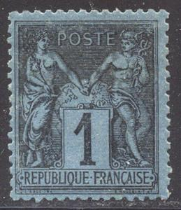 FRANCE RARE #87 Mint w/Cert - 1880 1c Black on Prussian Blue