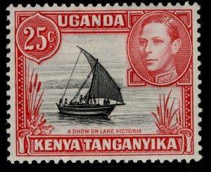 KENYA UGANDA TANGANYIKA GVI SG140, 25c black & carmine-red, M MINT.