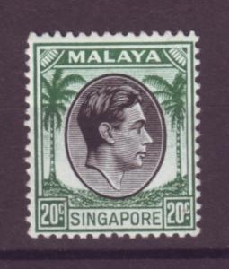 J21355 Jlstamps 1948 singapore mh #12 king perf 14
