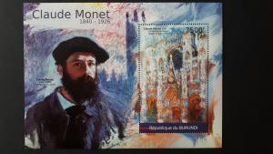 Art - Burundi 2012. - Claude Monet ** MNH Block
