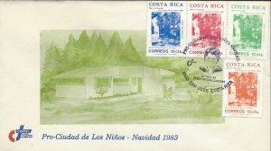 COSTA RICA WHEELCHAIR,PRO-CIUDAD de los NIÑOS,CHRISTMAS TAX Sc RA97-RA100 FDC