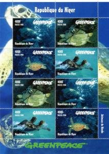 Niger 1998 GREENPEACE TURTLES Sheet (8) Perforated Mint (NH)