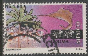 MEXICO 1788, N$1.80 Tourism Colima, resort, fishing. USED, F-VF. (1376)