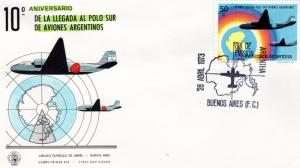 Argentina 1973 Sc#999 Anniv.First Fly to South Pole/Aircfrafts (1) F.D.C.