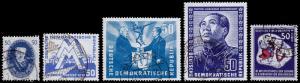 German Democratic Republic Scott 67, 79, 81, 84, 88 (1950-51) Used VF C