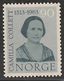 Norway 1963 Author Camilla Collett, 0.90 ore, Scott #432, Mint Never Hinged