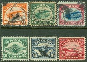 EDW1949SELL : USA 1918-23 Scott #C1-C6 VF-XF, Used. Choice set. Catalog $155.00.