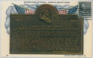 37225 MAXIMUM CARD - USA : GETTISBURG - LINCOLN 1952
