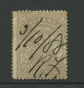 STAMP STATION PERTH: Australia Victoria #? Used 1879? Single 3/- Stamp