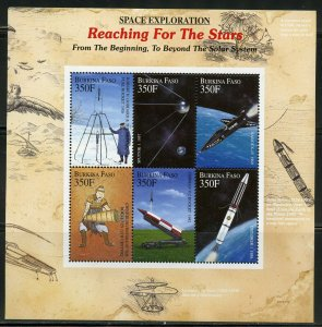 BURKINA FASO SPACE EXPLORATION REACHING FOR THE STARS SHEET MINT NH