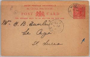 39772 ST LUCIA - POSTAL HISTORY - POSTAL STATIONERY CARD: 1 p VICTORIA  1899