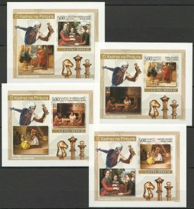 K1290 IMPERFORATE 2007 GUINEA-BISSAU SPORT ART CHESS PAINTINGS 4 LUX BL FIX