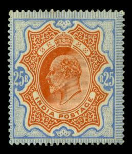 INDIA 1902  EDWARD VII  25Rs  ultra & orange  SG 147  mint MH - RARE