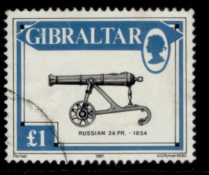 GIBRALTAR QEII SG579, 1987 £1 russian 24-pounder gun, FINE USED.