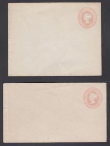 Great Britain H&G B9f, B9h mint 1881 1p Queen Victoria Envelopes, 2 different