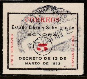 MEXICO 326Var 5¢, SONORA WHITE, WATERMARKED PEERLESS MILLS. USED. VF (230)