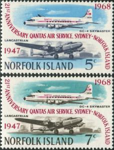 Norfolk Island 1968 SG96-97 QANTAS set MNH