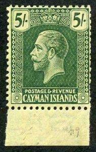 Cayman Is SG64a 5/- deep green/pale yellow wmk Mult Crown CA m/m