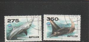 Netherlands Antilles  Scott#  852-3  CTO 1998 Int'l Year of the Ocean)