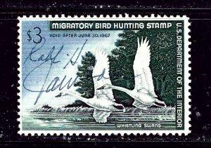 U.S. RW33 1966 Duck Stamp signed has full gum  #2